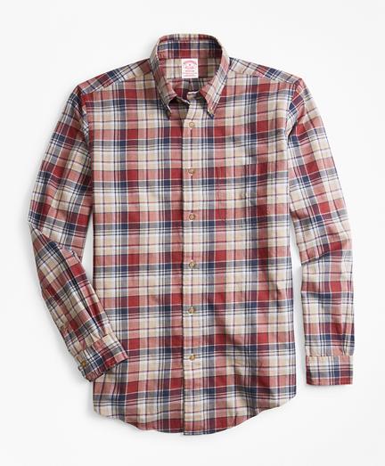 Madison Fit Camel Plaid Flannel Sport Shirt