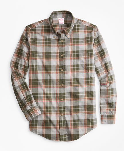 Madison Fit Olive Plaid Flannel Sport Shirt