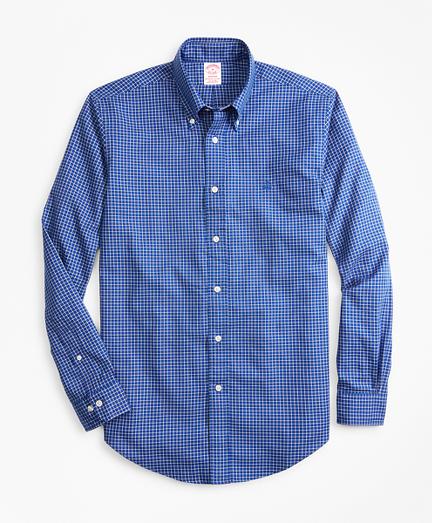 Madison Fit Mini-Windowpane Brushed Oxford Sport Shirt