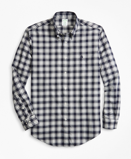 Milano Fit Plaid Brushed Oxford Sport Shirt