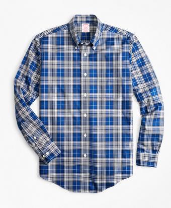 Non-Iron Madison Fit Blue Tartan Sport Shirt