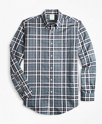 Non-Iron Milano Fit Grey Tartan Sport Shirt