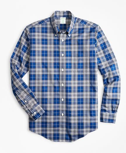 Non-Iron Milano Fit Blue Tartan Sport Shirt