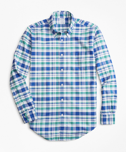 Regent Fit Oxford Blue and Green Plaid Sport Shirt