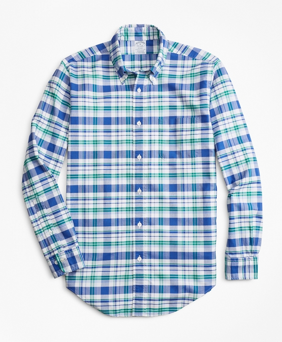 Regent Fit Oxford Blue and Green Plaid Sport Shirt Blue-Green