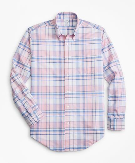 Regent Fit Oxford Pink and Blue Plaid Sport Shirt