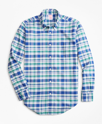 Madison Fit Oxford Blue and Green Plaid Sport Shirt