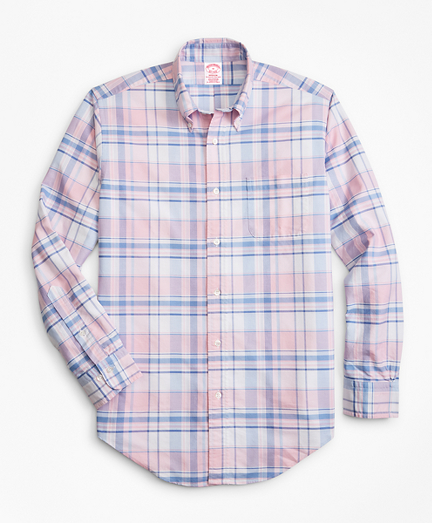 Madison Fit Oxford Pink and Blue Plaid Sport Shirt