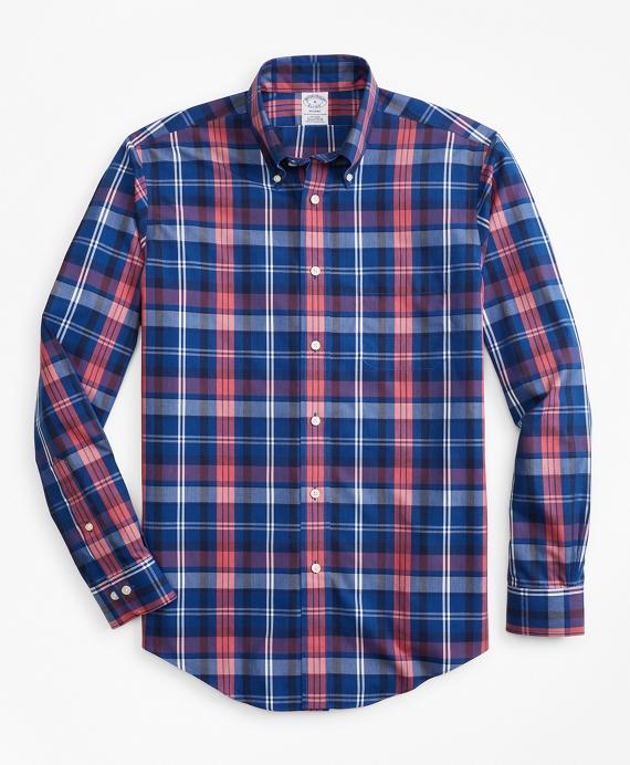 Non-Iron Regent Fit Bold Multi-Plaid Sport Shirt Navy