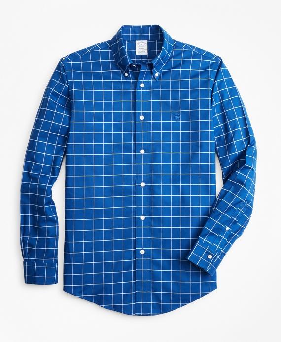 Non-Iron Regent Fit Fine-Windowpane Sport Shirt Navy