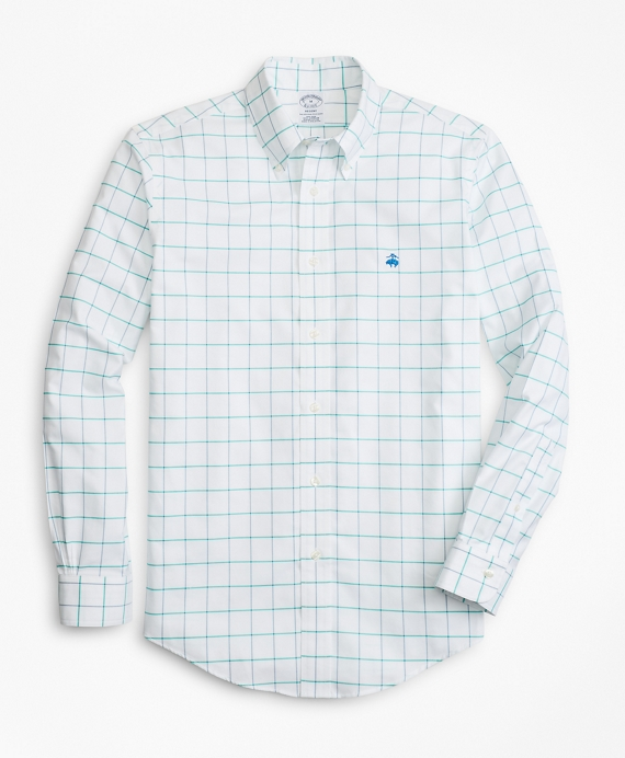 Non-Iron Regent Fit Fine-Windowpane Sport Shirt White