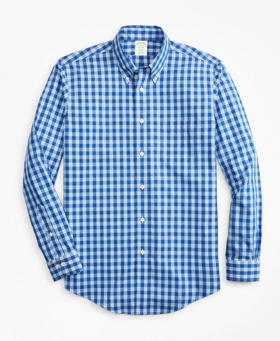 Non-Iron Milano Fit Bold Gingham Sport Shirt Blue