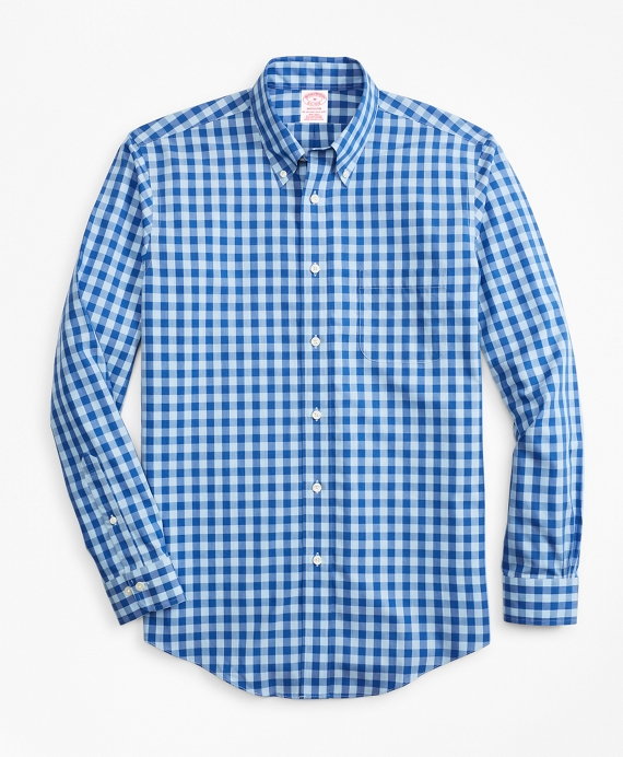 Non-Iron Madison Fit Bold Gingham Sport Shirt Blue
