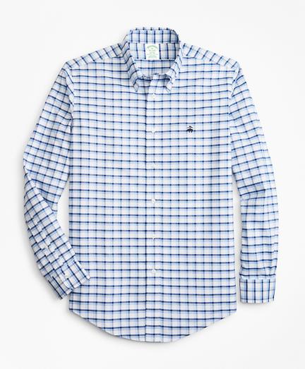 Non-Iron Milano Fit Double-Windowpane Sport Shirt