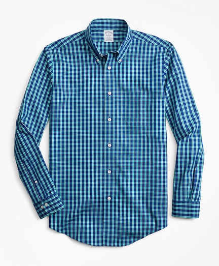 Non-Iron Regent Fit Blue and Green Check Sport Shirt
