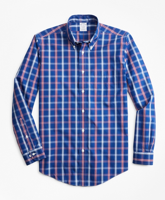 Non-Iron Regent Fit Blue and Red Check Sport Shirt Blue-Red