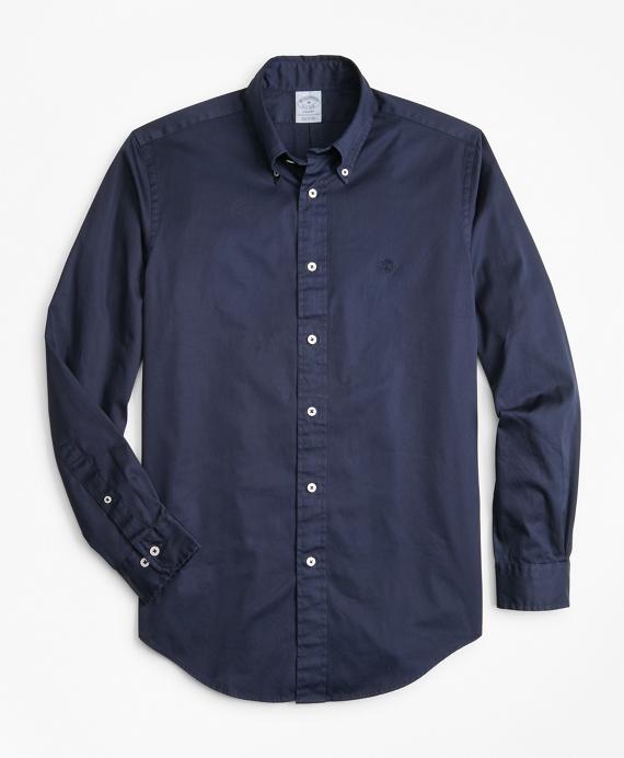 Regent Regular-Fit Sport Shirt, Garment-Dyed Twill Navy