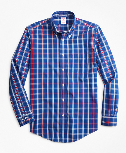 Non-Iron Madison Fit Blue and Red Check Sport Shirt