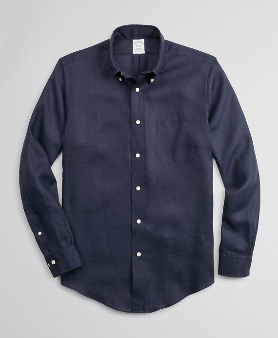 Milano Slim-Fit Sport Shirt, Irish Linen Navy