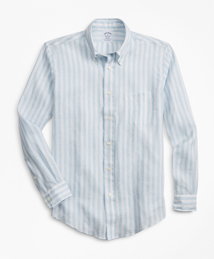 Regent Fit Stripe Irish Linen  Sport Shirt