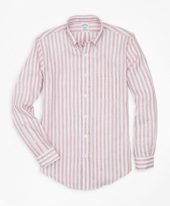 Regent Regular-Fit Sport Shirt, Stripe Irish Linen Wine
