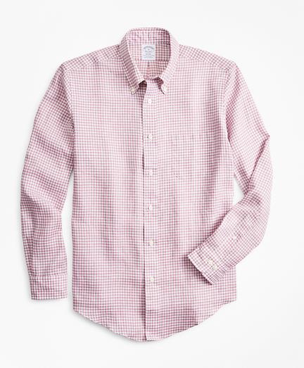 Regent Regular-Fit Sport Shirt, Gingham  Irish Linen