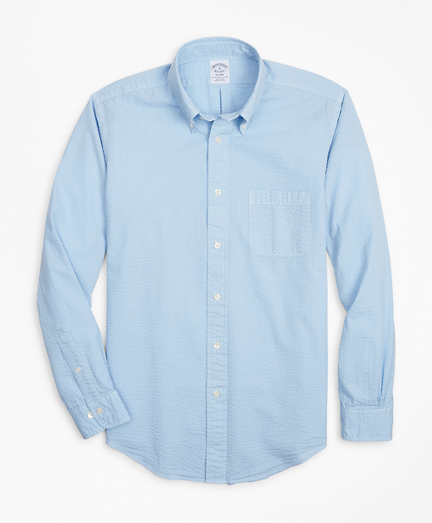 Regent Fit Garment-Dyed Seersucker Sport Shirt
