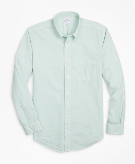 Regent Regular-Fit Sport Shirt, Garment-Dyed Seersucker