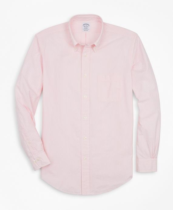Regent Regular-Fit Sport Shirt, Stripe Seersucker Pink