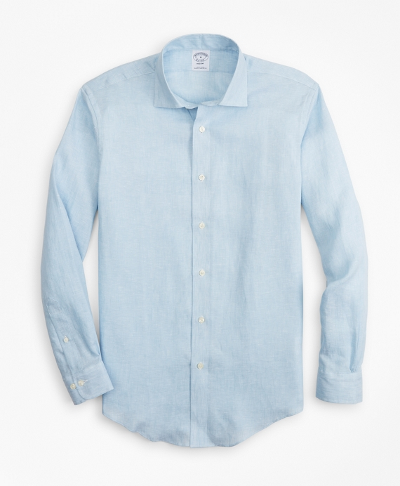 Regent Fit Irish Linen Spread Collar Sport Shirt Sky Blue