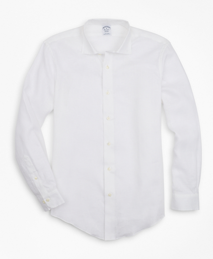 Regent Fit Irish Linen Spread Collar Sport Shirt