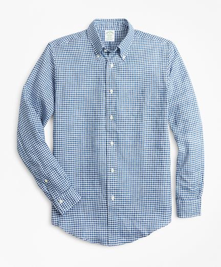 Milano Fit Gingham Irish Linen Sport Shirt