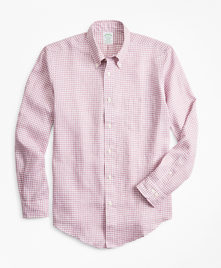 Milano Fit Gingham Irish Linen Sport Shirt