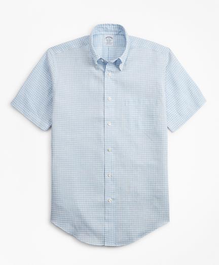 Brooksbrothers Regent Fit Gingham Irish Linen Short-Sleeve Sport Shirt