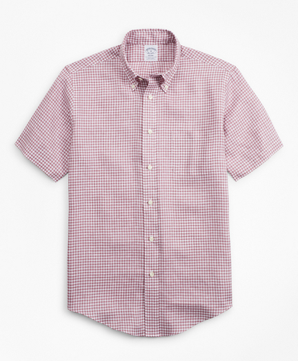 Regent Fit Gingham Irish Linen Short-Sleeve Sport Shirt
