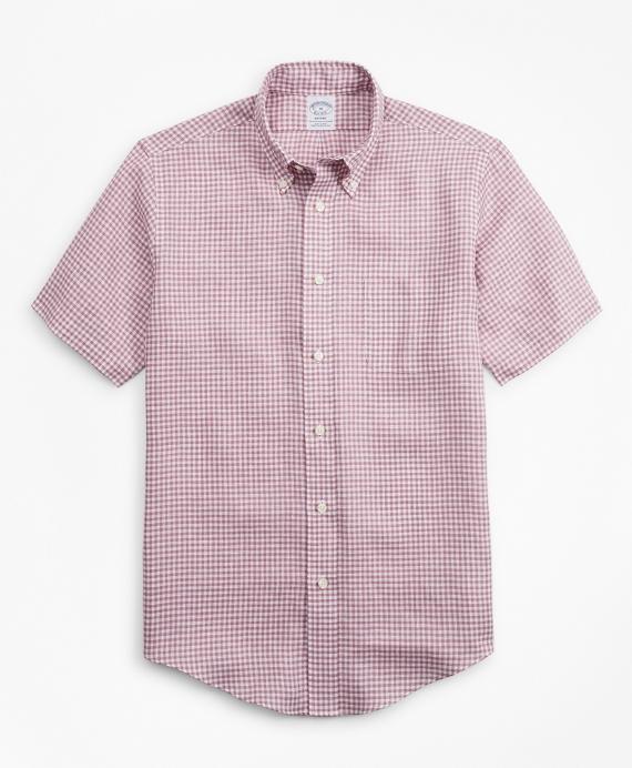 Regent Regular-Fit Sport Shirt, Gingham Irish Linen Short-Sleeve Wine