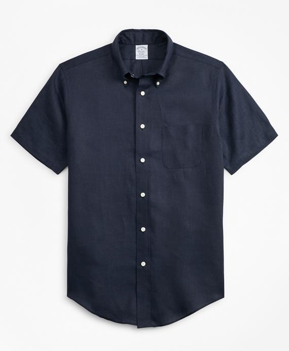 Regent Regular-Fit Sport Shirt, Irish Linen Short-Sleeve Navy