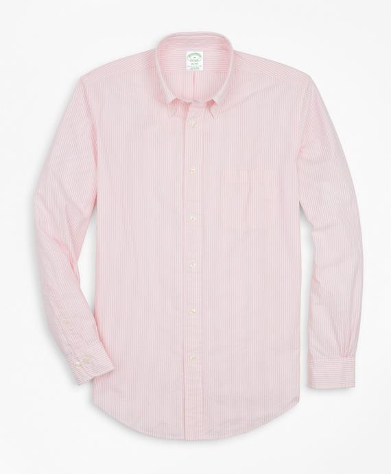 Milano Fit Stripe Seersucker Sport Shirt Pink