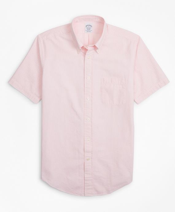 Regent Fit Stripe Seersucker Short-Sleeve Sport Shirt Pink