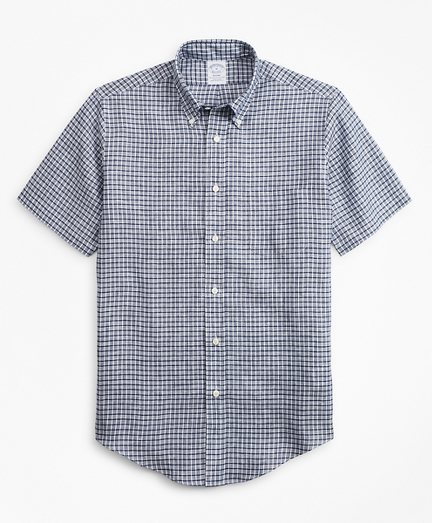 Regent Fit Ground Check Irish Linen Short-Sleeve Sport Shirt
