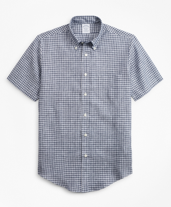 Regent Regular-Fit Sport Shirt, Ground Check Irish Linen Short-Sleeve Navy