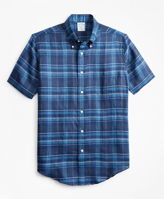Regent Regular-Fit Sport Shirt, Large Plaid Irish Linen Short-Sleeve Navy