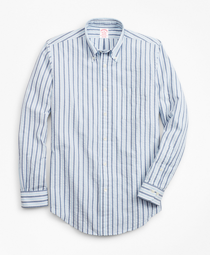Madison Fit Bold Stripe Seersucker Sport Shirt