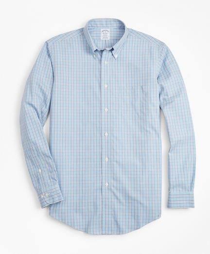 Non-Iron Regent Fit Blue Check Sport Shirt