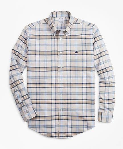 Non-Iron Regent Fit Tan Plaid Sport Shirt