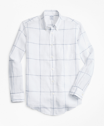 Regent Fit Large Windowpane Irish Linen Sport Shirt