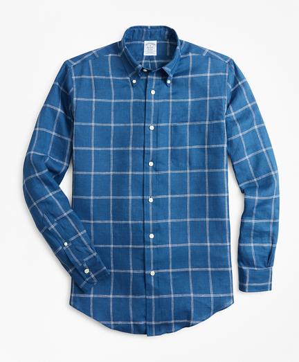 Regent Fit Double-Windowpane Irish Linen Sport Shirt