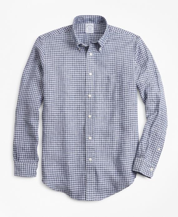 Regent Regular-Fit Sport Shirt, Ground Check Irish Linen Blue