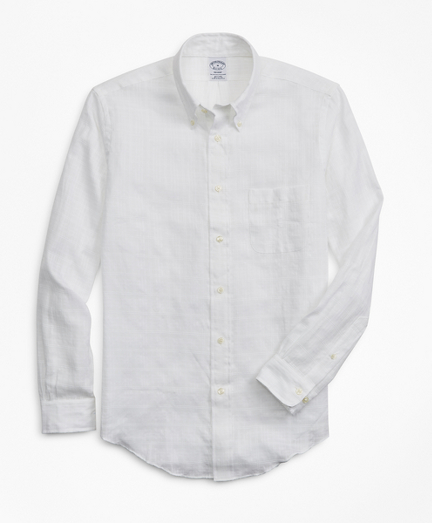 Regent Fit Textured Windowpane Irish Linen Sport Shirt