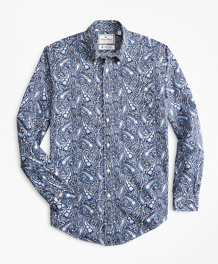 Luxury Collection Regent Fitted Sport Shirt, Button-Down Collar Large Paisley Print